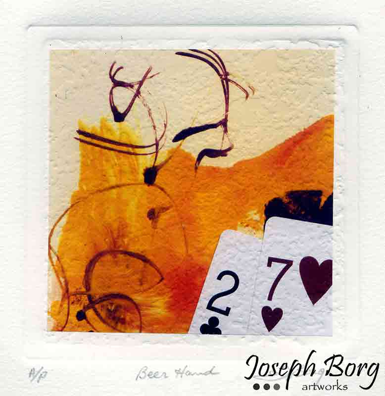 "Mixed Media Poker Art Print - ""Beer Hand"""
